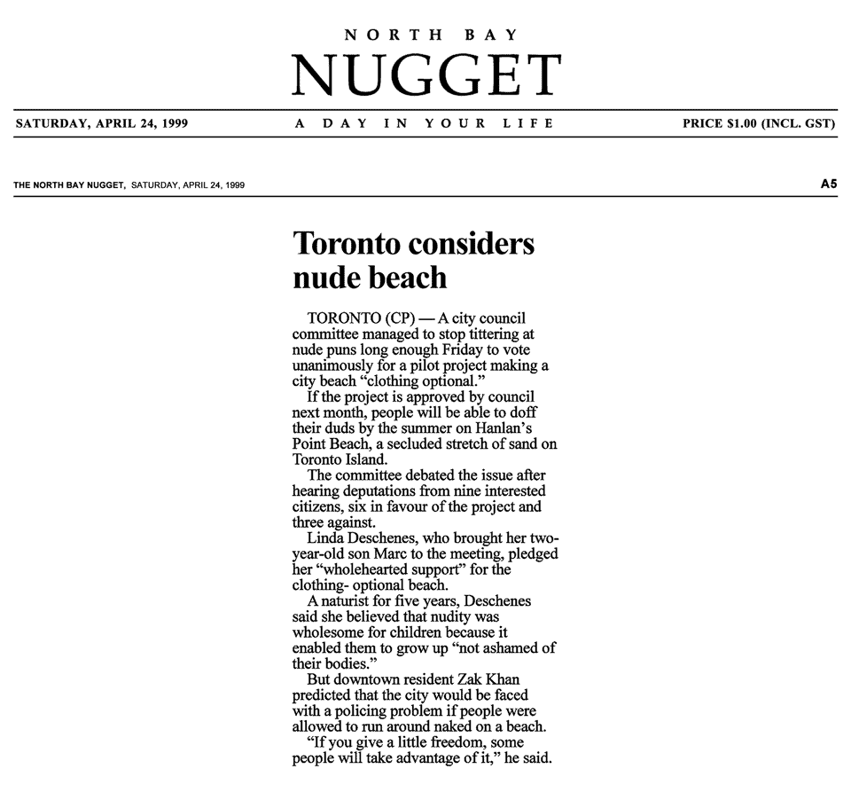 North Bay Nugget 1999-04-24 - Committee OKs Hanlan's Point CO-zone